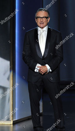 Stock Photo of Robin Williams presents a tribute to Jonathan Winters on stage at the 65th Primetime Emmy Awards at Nokia Theatre, in Los Angeles