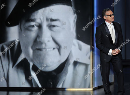 Stock Picture of Robin Williams presents a tribute to Jonathan Winters on stage at the 65th Primetime Emmy Awards at Nokia Theatre, in Los Angeles