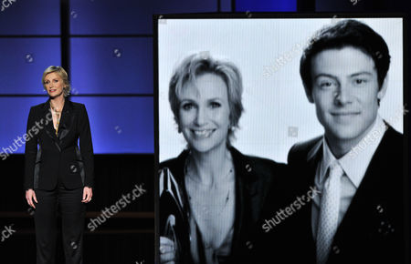 Stock Image of Jane Lynch presents a tribute to Cory Monteith on stage at the 65th Primetime Emmy Awards at Nokia Theatre, in Los Angeles