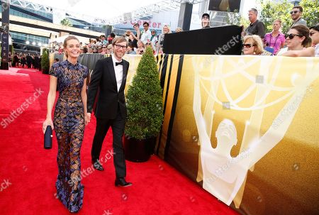Christine Marzano, left, and Stephen Merchant arrive at the 67th Primetime Emmy Awards, at the Microsoft Theater in Los Angeles