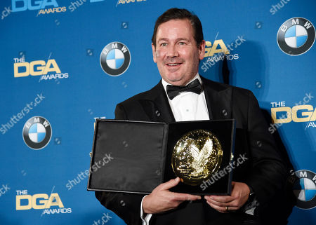 """Director David Nutter poses backstage after winning the Dramatic Series award for """"Game of Thrones"""" at the 68th Directors Guild of America Awards at the Hyatt Regency Century Plaza on in Los Angeles"""