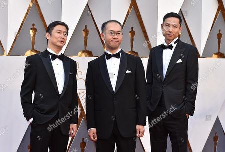 Naoya Fujimaki, from left, Hiromasa Yonebayashi and Yoshiaki Nishimura arrive at the Oscars, at the Dolby Theatre in Los Angeles