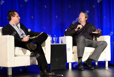 Stock Image of Bruce Eisen, President of Digital Advisors, and Steve Nickerson, President of Home Entertainment, speak at the American Film Market Distribution Conference: The Future of Video On Demand at the Fairmont Hotel, in Santa Monica, Calif