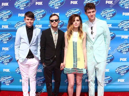Graham Sierota, from left, Jamie Sierota, Sydney Sierota and Noah Sierota, of Echosmith, arrive at the American Idol XIV finale at the Dolby Theatre, in Los Angeles
