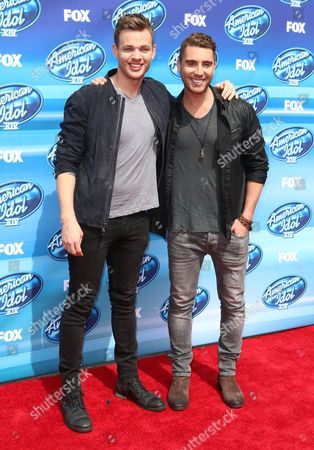 Finalists Clark Beckham, left, and Nick Fradiani arrive at the American Idol XIV finale at the Dolby Theatre, in Los Angeles