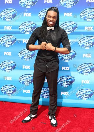 Qaasim Middleton arrives at the American Idol XIV finale at the Dolby Theatre, in Los Angeles