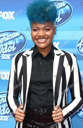 Tyanna Jones arrives at the American Idol XIV finale at the Dolby Theatre, in Los Angeles