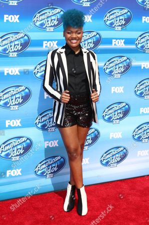 Stock Image of Tyanna Jones arrives at the American Idol XIV finale at the Dolby Theatre, in Los Angeles