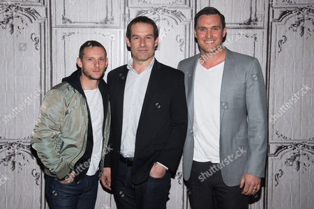 Jamie Bell, left, Ian Kahn and Owain Yeoman participate in AOL's BUILD Speaker Series to discuss the show TURN at AOL Studios, in New York