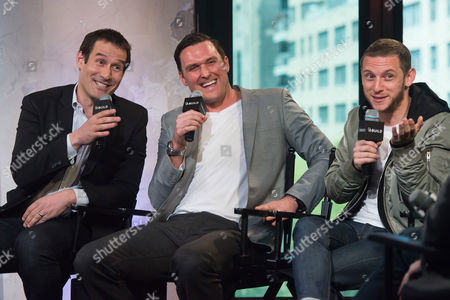 Ian Kahn, left, Owain Yeoman and Jamie Bell participate in AOL's BUILD Speaker Series to discuss the show TURN at AOL Studios, in New York