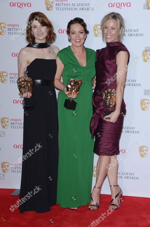 Jodie Whittaker, Olivia Colman and Simone McAullay at the Arqiva BAFTA Television Awards at The Theatre Royal in London on