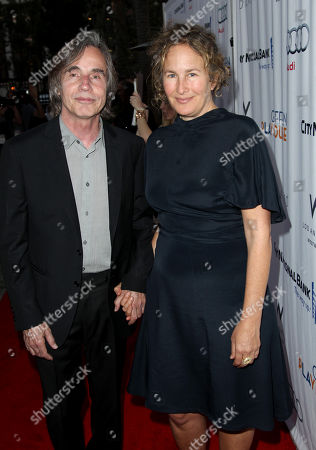 Jackson Browne, left, and Dianna Cohen arrive at the Backstage at the Geffen gala at the Geffen Playhouse, in Los Angeles