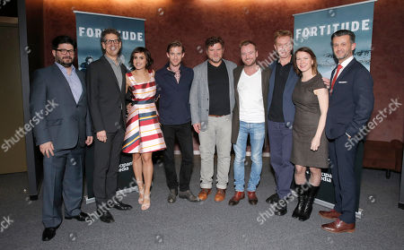 """Stock Photo of Pivot and Sky Vision hosted a BAFTA Screening for their new hour long TV drama """"Fortitude"""" at the Landmark Theater in Los Angeles on Wednesday. """"Fortitude"""" premieres on Pivot TV January 29th. [Shown: GM of Pivot Kent Rees, CEO of Participant Media Jim Berk, actor Veronica Echegui, actor Luke Treadaway, Director Sam Miller, actor Richard Dormer, show runner Simon Donald, EVP of original programming of Pivot Belisa Balaban and Director of Development for Pivot Chris Loveall"""