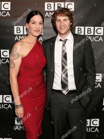 Franka Potente, left, and Derek Richardson attend the BBC America TCA Party at Cafe La Boheme on in Los Angeles, California