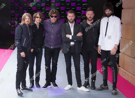 Band members of Kasabian, from left to right Chris Edwards, Jay Mehler, Ian Matthews, Tom Meighan, Ben Kealey and Serge Pizzorno arrive at the premiere of Kasabianâ?™s Summer Solstice gig, which took place last month in Leicester, at the Vue cinema in central London