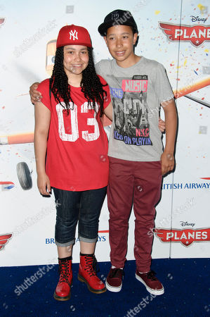 Gabz Gardiner and an unidentified guest arrive for the UK screening of Planes, at a central London cinema, London