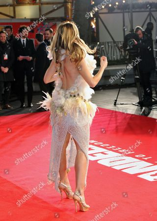 Former Miss Northern Ireland Joanne Salley poses for photographers as she arrives at the UK Premiere of 'Mandela: Long Walk To Freedom' at the Odeon Leicester Square in London on