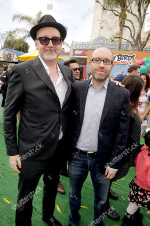 """Director Fergal Reilly and Producer John Cohen seen at Columbia Pictures and Rovio Animations Premiere of """"The Angry Birds Movie"""" at Regency Village Theatre, in Los Angeles"""