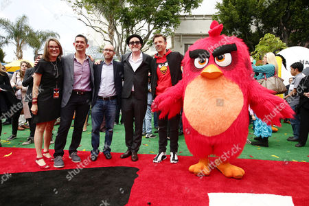 "Producer Catherine Winder, Director Clay Kaytis, Producer John Cohen, Director Fergal Reilly, Jason Sudeikis and Red seen at Columbia Pictures and Rovio Animations Premiere of ""The Angry Birds Movie"" at Regency Village Theatre, in Los Angeles"