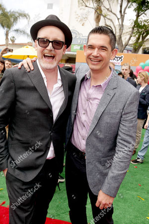 """Directors Fergal Reilly and Clay Kaytis seen at Columbia Pictures and Rovio Animations Premiere of """"The Angry Birds Movie"""" at Regency Village Theatre, in Los Angeles"""