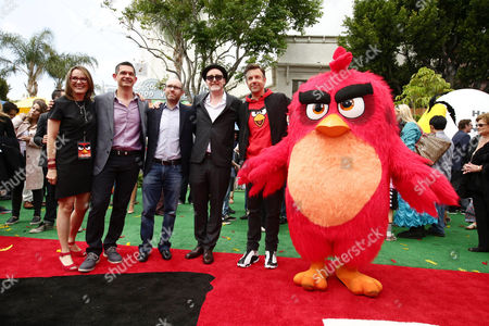 """Producer Catherine Winder, Director Clay Kaytis, Producer John Cohen, Director Fergal Reilly, Jason Sudeikis and Red seen at Columbia Pictures and Rovio Animations Premiere of """"The Angry Birds Movie"""" at Regency Village Theatre, in Los Angeles"""