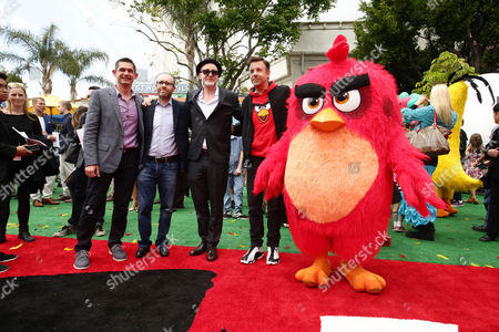 "Director Clay Kaytis, Producer John Cohen, Director Fergal Reilly, Jason Sudeikis and Red seen at Columbia Pictures and Rovio Animations Premiere of ""The Angry Birds Movie"" at Regency Village Theatre, in Los Angeles"