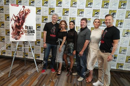 "Writer Tim Carter, Keegan Connor Tracy, Marie Avgeropoulos, Director Pat Williams, Jessica Harmon and Exec. Producer Tomas Harlan seen at Crackle's ""Dead Rising: Endgame"" at 2016 Comic Con, in San Diego, CA"