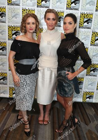 "Keegan Connor Tracy, Jessica Harmon and Marie Avgeropoulos seen at Crackle's ""Dead Rising: Endgame"" at 2016 Comic Con, in San Diego, CA"