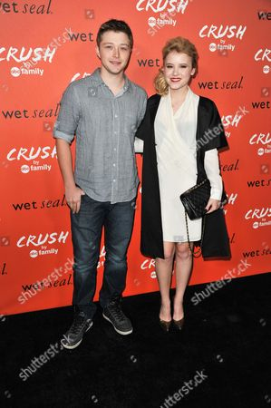 Sterling Knight, left, and Taylor Spreitler arrive at the launch party for Crush by ABC Family at The London Hotel on in West Hollywood, Calif