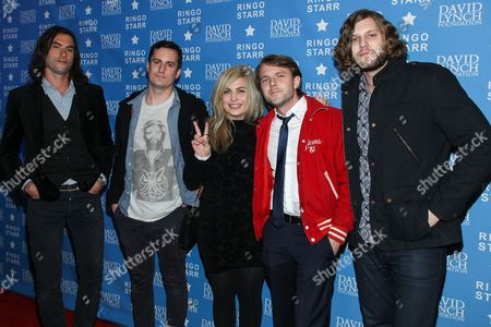 "Charity Rose Thielen, Josiah Johnson, Jonathan Russell, Chris Zasche, Kenny Hensley, Tyler Williams Musical group The Head and the Heart attend the David Lynch Foundation Honors Ringo Star ""A Lifetime of Peace & Love"" event held at the El Rey Theatre on in Los Angeles"