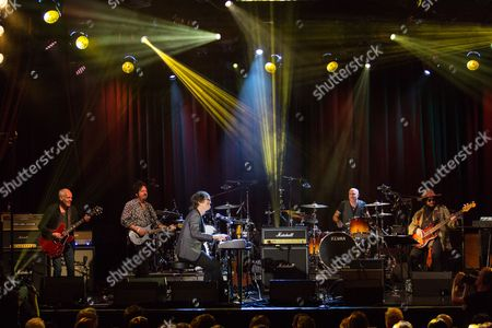 """From left. musicians Peter Frampton, Steve Lukather, Ben Folds, Kenny Aronoff, and Don Was on stage during the David Lynch Foundation Honors Ringo Star """"A Lifetime of Peace & Love"""" event held at the El Rey Theatre on in Los Angeles"""
