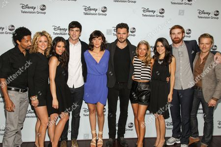 """The cast of """"Mixology"""", from left, actors Craig Frank, Alexis Carra, Ginger Gonzaga, Blake Lee, Frankie Shaw, adan canto, Vanessa Lengies, Kate Simses, Andrew Santino, and Adam Campbell attend the Disney/ABC Winter 2014 TCA All Star Reception on in Pasadena, Calif"""