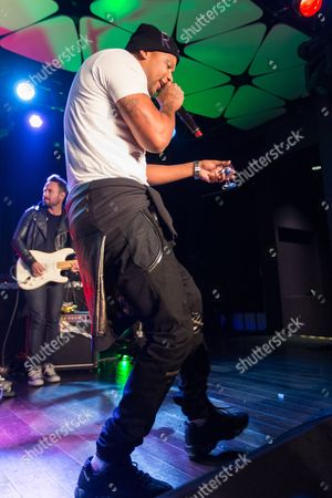 Stock Image of Joe Moses performs on stage during filming of SKEE Live on in Los Angeles, Calif