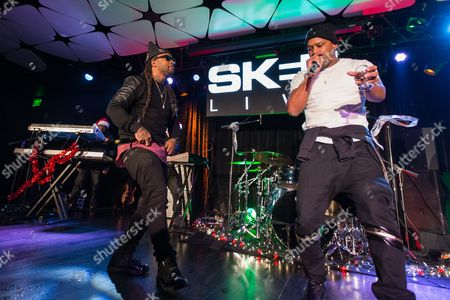 Ty Dolla Sign (L) and Joe Moses perform on stage during filming of SKEE Live on in Los Angeles, Calif