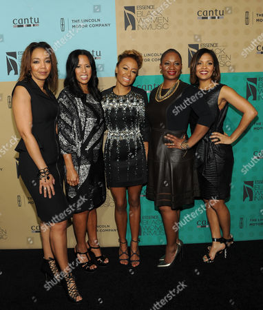 From left, ESSENCE Multicultural Marketing Mgr. Shawn Thompson, ESSENCE president Michelle Ebanks, honoree Emeli Sande, ESSENCE Editor-In-Chief Vanessa Bush and ESSENCE Entertainment Director Cory Booker arrive at the 5th Annual ESSENCE Black Women in Music reception, on at 1 OAK in Los Angeles, Calif