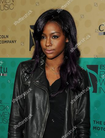 Justine Sky arrives at the 5th Annual ESSENCE Black Women in Music reception, on at 1 OAK in Los Angeles, Calif