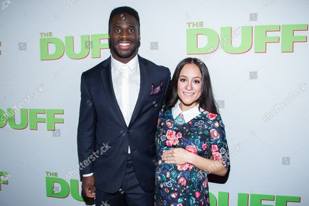 "Prince Amukamara, left, and Pilar Davis arrive at the Los Angeles Fan Screening of ""THE DUFF"", in Los Angeles"