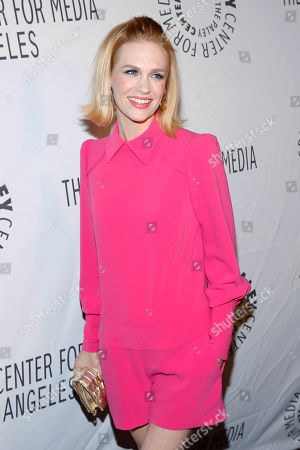 """This photo shows actress January Jones of """"Mad Men"""" wearing Skaist Taylor as she arrives at the Paley Center LA Benefit at the Rooftop of The Lot in West Hollywood, Calif. Designer Pamela Skaist-Levy and Gela Nash Taylor say they are committed to creating clothes for their closets like rompers, eyelet skirts and boucle jackets, in a season when many other designers are toning it down"""