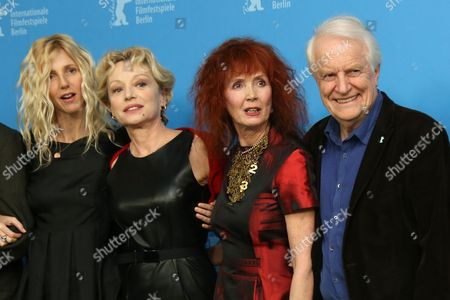 From left, actors Sandrine Kiberlain, Caroline Sihol, Sabine Azema and Andre Dussollier attend the photo call for the film Life of Riley during the Berlinale International Film Festival, in Berlin
