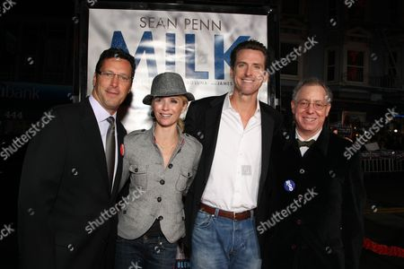 Stock Photo of OCTOBER 28: Focus' Andrew Karpen, San Francisco Mayor Gavin Newsom, wife Jennifer Newsom and Focus' James Schamus at Focus Features World Premiere of 'MILK' on at the Castro Theatre in San Francisco, CA
