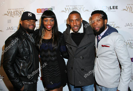 Stock Image of From left, Steve Jones, Kinnik Sky, Jonathan Clardy and Kweisi Gharreau attend For the Love of R&B - A Tribute to Whitney Houston at Tru Hollywood, in Los Angeles