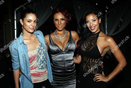 L-R) Anabelle Acosta, Nikki Chu and Julissa Bermudez attend Girlfriend Confidential LA Premiere Episode Party at Xen Lounge, in Studio City, California