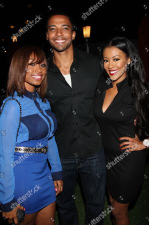 L-R) Actors Angell Conwell, Christian Keys and Denyce Lawton attend Girlfriend Confidential LA Premiere Episode Party at Xen Lounge, in Studio City, California