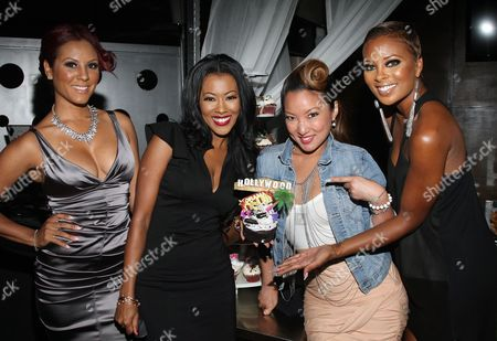 Cast members (L-R) Nikki Chu, Denyce Lawton, Kelly Marie Dunn and Eva Marcille attend Girlfriend Confidential LA Premiere Episode Party at Xen Lounge, in Studio City, California