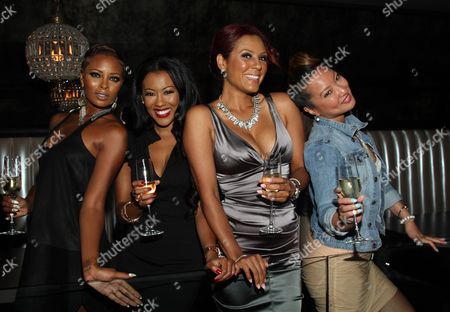 Cast members (L-R) Eva Marcille, Denyce Lawton, Nikki Chu and Kelly Marie Dunn attend Girlfriend Confidential LA Premiere Episode Party at Xen Lounge, in Studio City, California