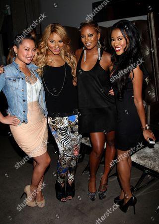 L-R) Kelly Marie Dunn, Tamar Braxton, Eva Marcille and Denyce Lawton attend Girlfriend Confidential LA Premiere Episode Party at Xen Lounge, in Studio City, California