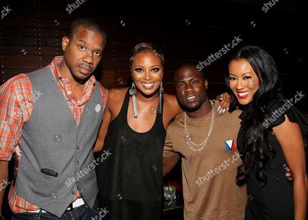 L-R) Duane Martin, Eva Marcille, Kevin Hart and Denyce Lawton pose at Girlfriend Confidential LA Premiere Episode Party at Xen Lounge, in Studio City, California
