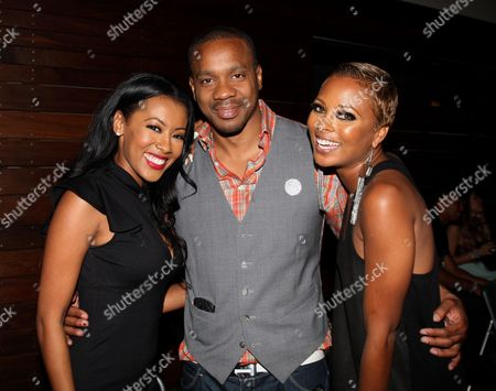 L-R) Denyce Lawton, Duane Martin and Eva Marcille pose at Girlfriend Confidential LA Premiere Episode Party at Xen Lounge, in Studio City, California