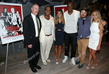 "Matt Walsh, from left, Jayson Paul, Lauren Elizabeth Luthringshausen, Owen Smith, Gareth Reynolds and Jenn McAllister attend GRB Entertainment's ""Bad Night"" premiere, in Los Angeles"