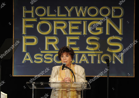 Aida Takla-O Reilly speaks at the Hollywood Foreign Press Association luncheon at the Beverly Hills Hotel, in Beverly Hills, Calif